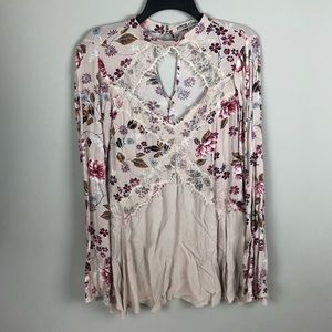 Gypsies & Moondust Pink Floral Boho Lace Tunic